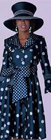 Tally Taylor 4592 One Piece Polka Dot Dress Suit With Notch Lapels & Bow