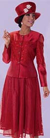 Tally Taylor 4593-Ruby - Two Piece Suit With Mesh Skirt & Textured Circle Design Jacket