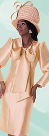 Tally Taylor 4597 One Piece Dress WIth Bow Tie & Puffed Sleeves