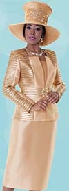 Tally Taylor 4600-Champagne - Three Piece Womens Skirt Suit With Textured Striped Jacket