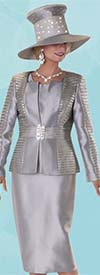 Tally Taylor 4600-Silver - Three Piece Womens Skirt Suit With Textured Striped Jacket