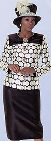 Tally Taylor 4602 Two Piece Two Tone Skirt Suit For Church With Circle Print