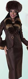 Tally Taylor 4603 Three Piece Skirt Suit With Jeweled Button & Detachable Fur Acccents