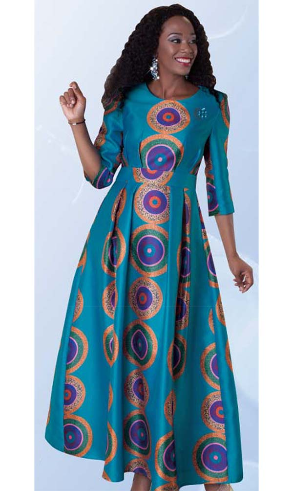 Tally Taylor 4497-Blue - One Piece Dress Multi Print Dress In Silk-Like Fabric & Rhinestone Brooch