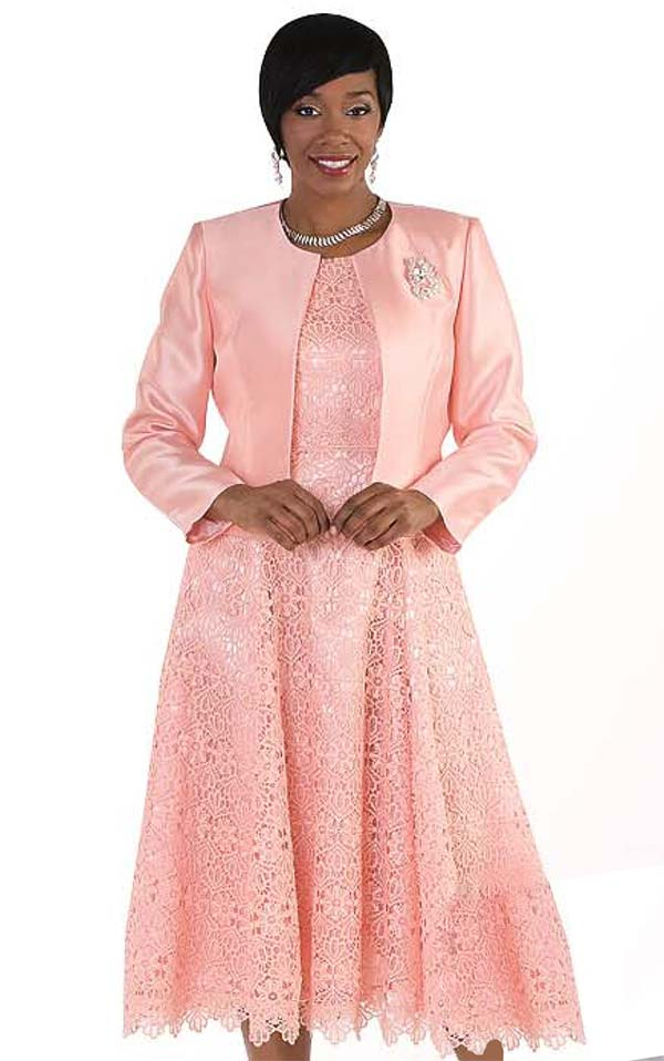 Tally Taylor 4529-Peach - Two Piece Pleated Lace Dress Suit With Silk Look Jacket