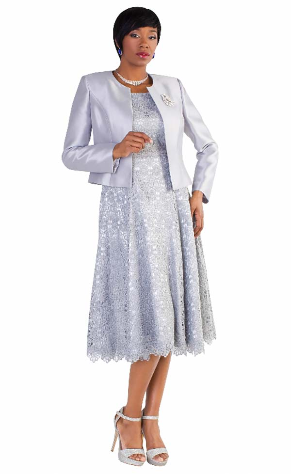 Tally Taylor 4529-Silver - Two Piece Pleated Lace Dress Suit With Silk Look Jacket