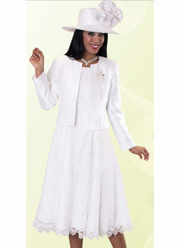 Tally Taylor 4529-White - Two Piece Pleated Lace Dress Suit With Silk Look Jacket