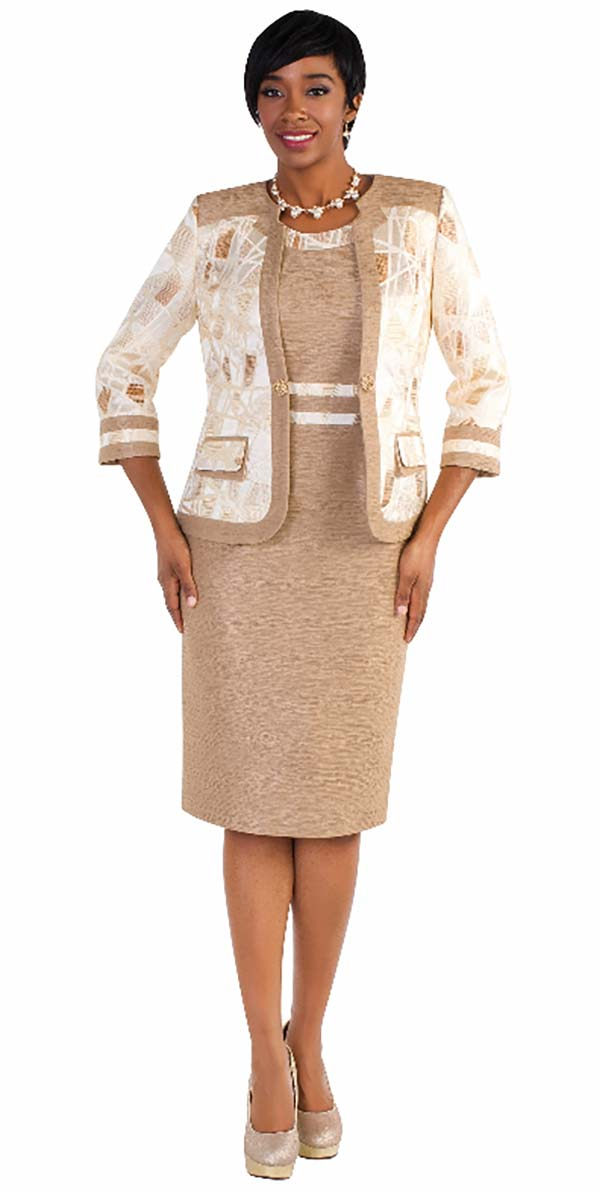 Tally Taylor 4568-Gold - Two Piece Dress Suit With Double Layer Pocket And Rhinestone Buckle