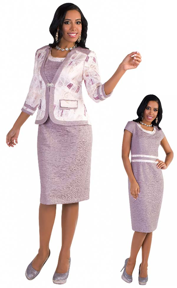 Tally Taylor 4568-Purple - Two Piece Dress Suit With Double Layer Pocket And Rhinestone Buckle