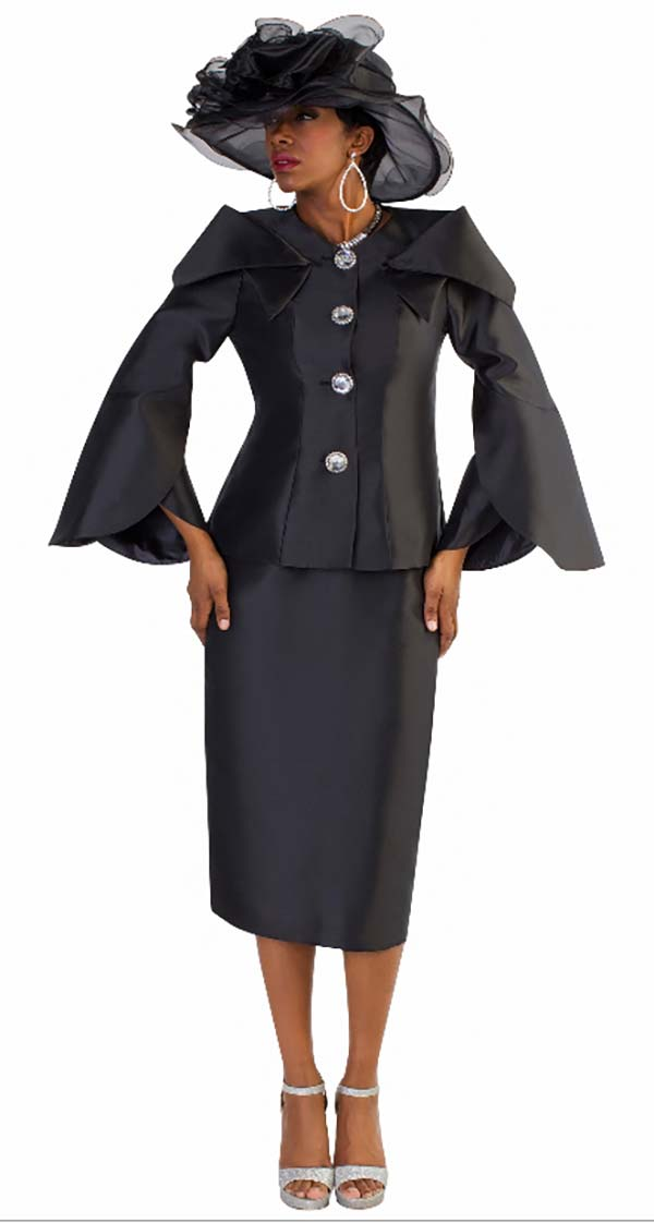 Tally Taylor 4570-Black - Two Piece Skirt Suit With Expanded Collar & Jeweled Buttons