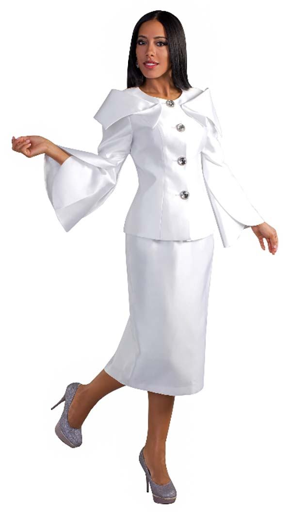 Tally Taylor 4570-White - Two Piece Skirt Suit With Expanded Collar & Jeweled Buttons