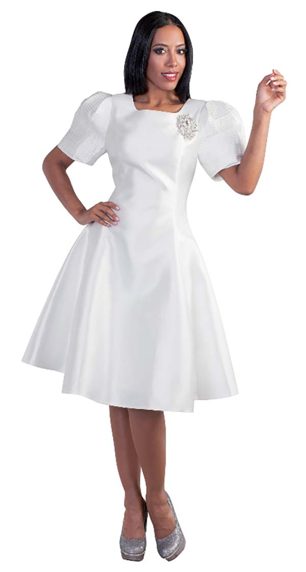 Tally Taylor 4573-White - A-Line Dress With Puffed Sleeves & Rhinestone Brooch