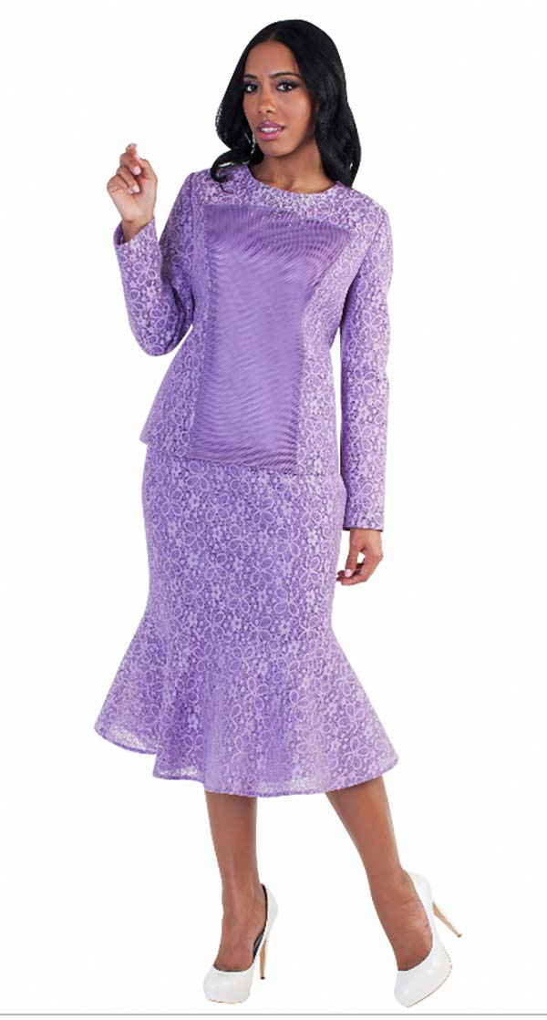 Tally Taylor 4577-Lavender - Two Piece Top & Mermaid Skirt Set With Lace Details