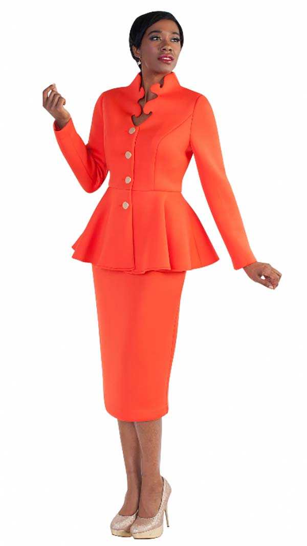 Tally Taylor 4578-Flame - Two Piece Scuba Fabric Skirt Suit With Intricate Neckline & Peplum Jacket