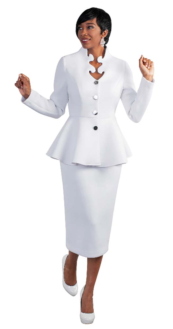 Tally Taylor 4578-White - Two Piece Scuba Fabric Skirt Suit With Intricate Neckline & Peplum Jacket