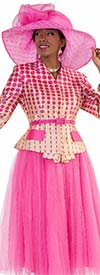 Tally Taylor 4581-Fuchsia - Two Piece Tulle Skirt Suit With Polka-Dot Print Belted Jacket