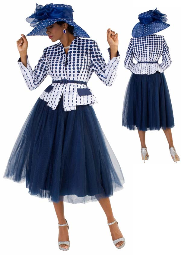 Tally Taylor 4581-WhiteNavy - Two Piece Tulle Skirt Suit With Polka-Dot Print Belted Jacket