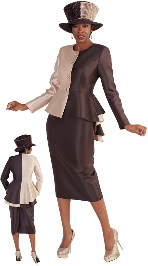 Tally Taylor 4582 - Two Tone Skirt Suit With High Low Peplum Jacket