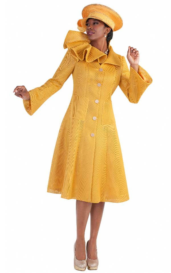 Tally Taylor 4583-Mustard - Mesh Fabric A-Line Dress With Unique Asymmetric Ruffled Collar