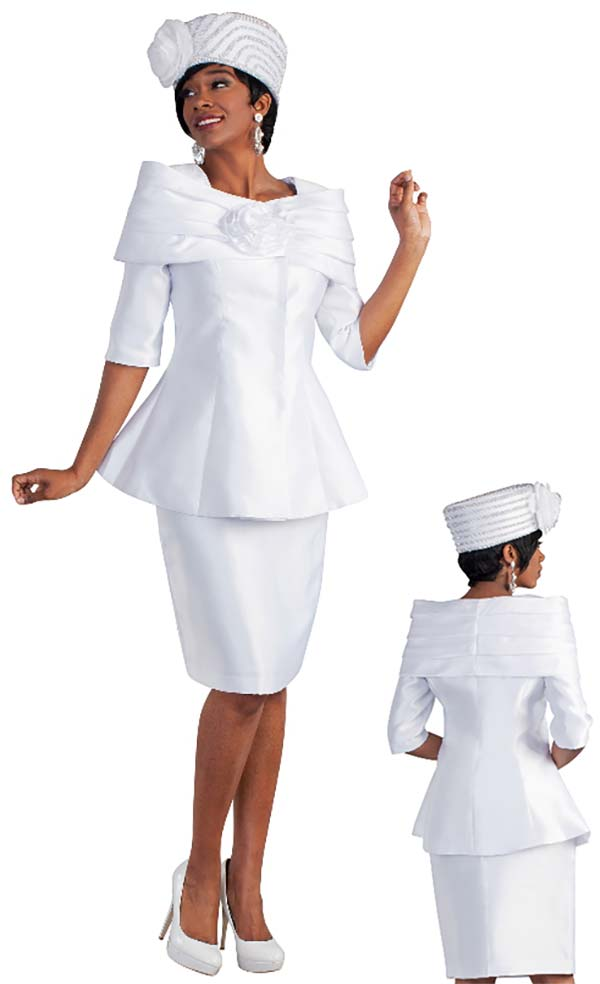 Tally Taylor 4584-White - Two Piece Skirt Suit With Off Shoulder Effect & Rose Flower Detail