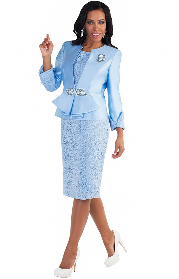 Tally Taylor 4586 - Lace Detail Two Piece Dress Suit With Rhinestone Brooch & Buckle