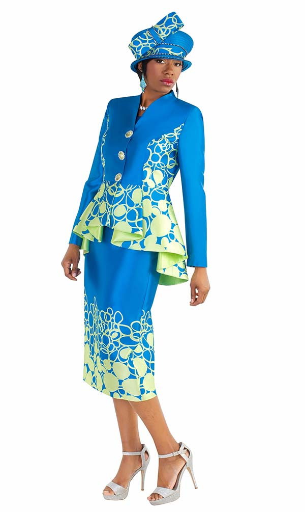 Tally Taylor 4589 - Circular Print Skirt Suit With High Low Peplum Jacket