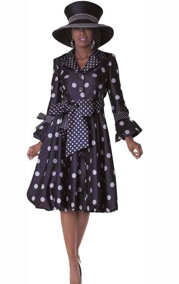 Tally Taylor 4592-Navy - One Piece Polka-Dot Print Layered Lapel Dress Suit With Sash