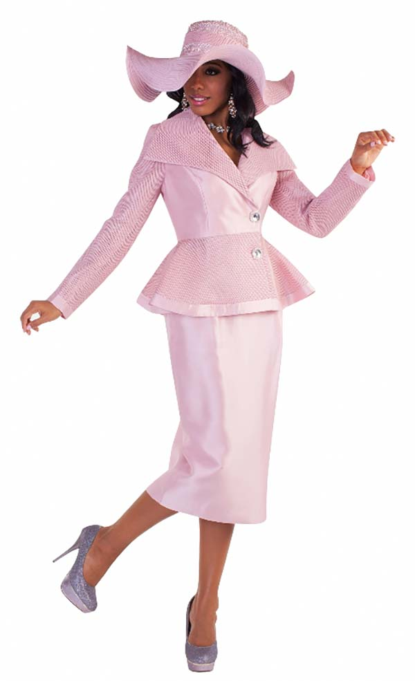 Tally Taylor 4595-Rose - Three Piece Skirt Suit With Mesh Details On Peplum Jacket