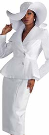 Tally Taylor 4595-White - Three Piece Skirt Suit With Mesh Details On Peplum Jacket