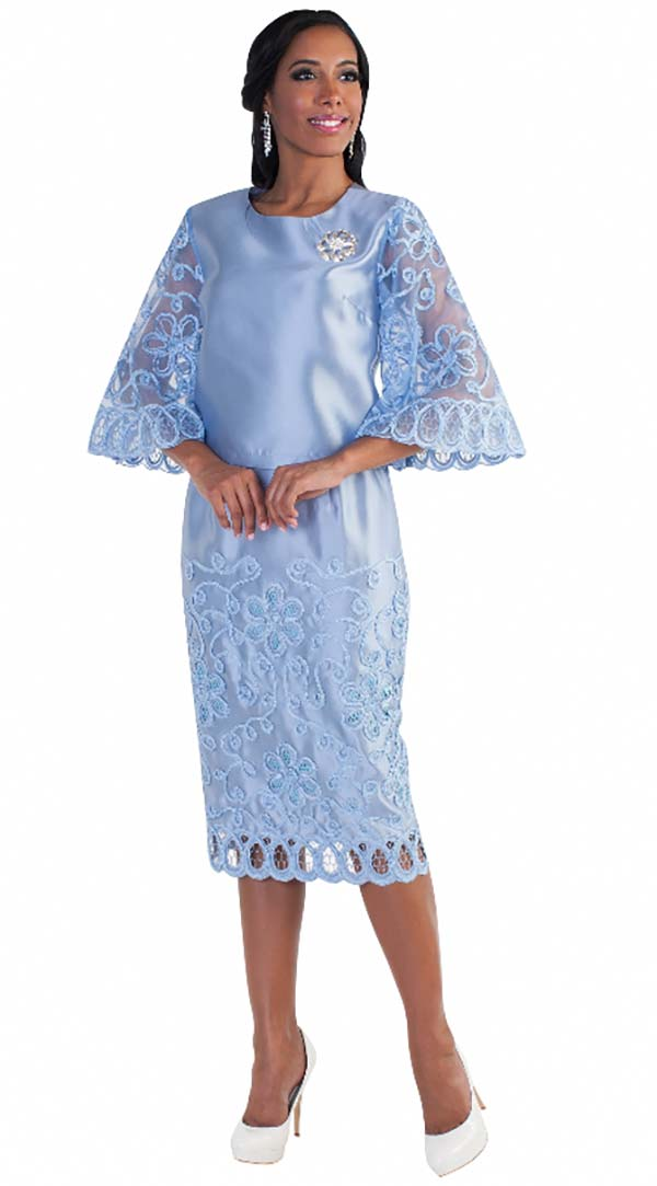 Tally Taylor 4609-Blue - Butterfly Sleeve Skirt Suit With Embroidered Lace Details & Rhinestone Brooch