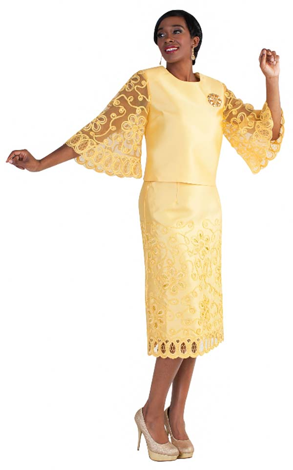Tally Taylor 4609-Mustard - Butterfly Sleeve Skirt Suit With Embroidered Lace Details & Rhinestone Brooch