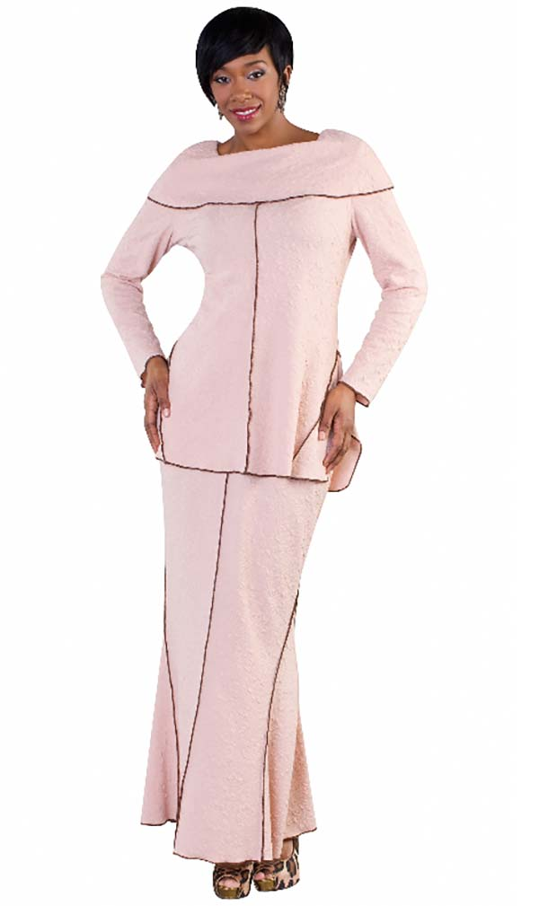 Tally Taylor 4610-Rose - Two Piece Skirt Suit In Floral Textured Knit With Overlocked Edge Details