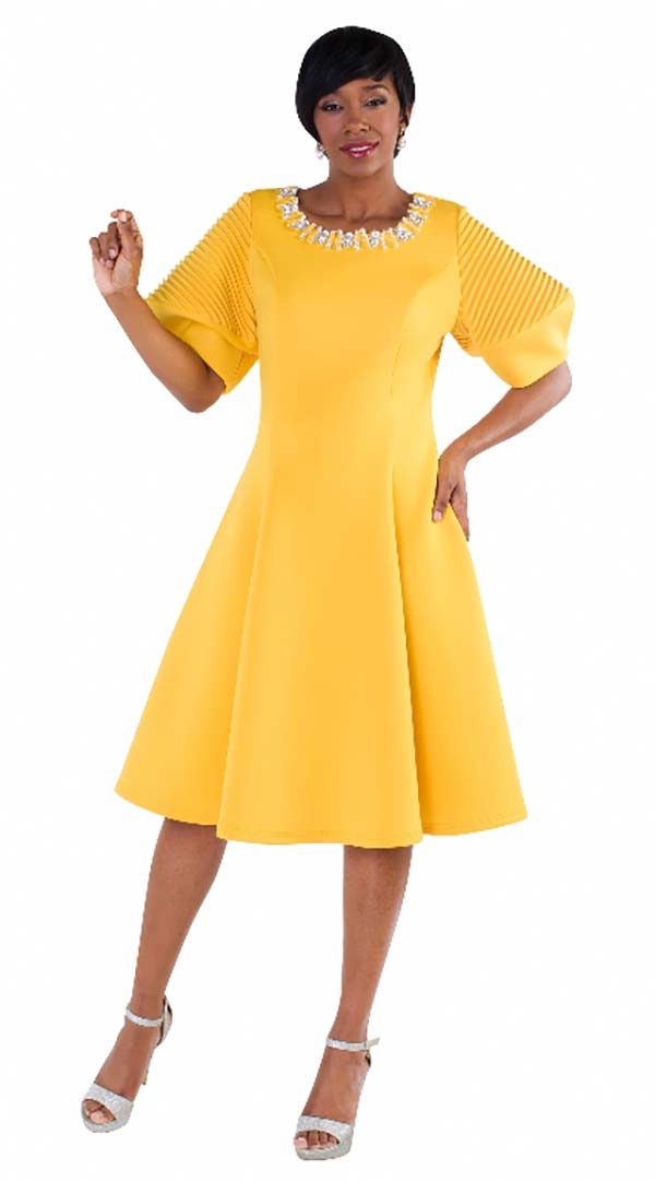 Tally Taylor 4612-Mustard - Pleated Dress With Puffed Sleeves & Rhinestone Neckline