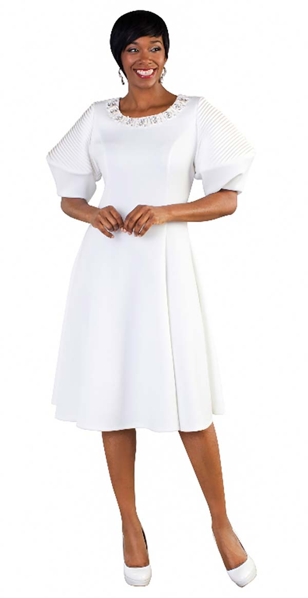 Tally Taylor 4612-White - Pleated Dress With Puffed Sleeves & Rhinestone Neckline