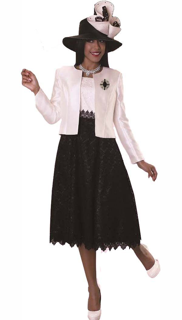 Tally Taylor 4614-Ivory - Two Piece Lace Dress Suit With Sill Look Jacket & Detachable Brooch