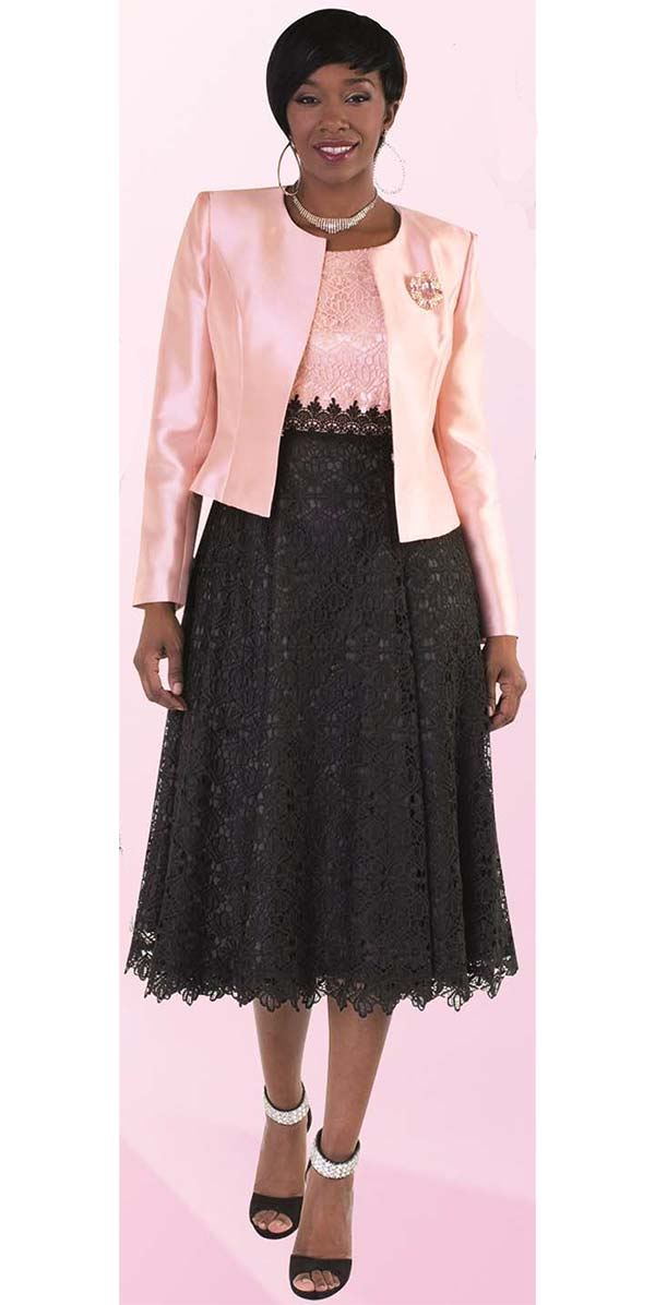 Tally Taylor 4614-Rose - Two Piece Lace Dress Suit With Sill Look Jacket & Detachable Brooch