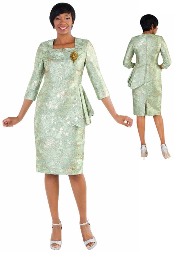 Tally Taylor 4616-Green - One Piece Metallic Print Dress With Asymmetrical Ruffled Design