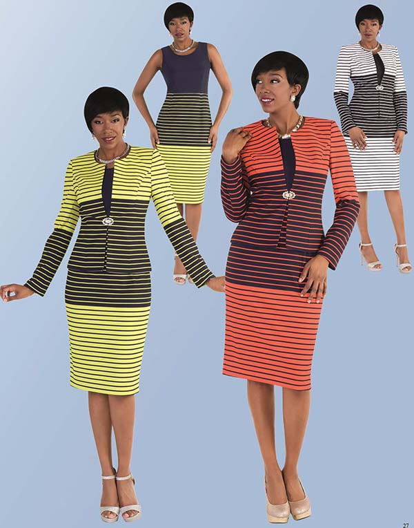 Tally Taylor 9414 - Two Piece Skirt Suit With Striped Patterns & Rhinestone Clasp