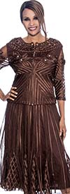 Susanna 3590-Chocolate Godet Pleated Skirt Suit With Mesh & Piping