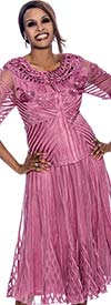Susanna 3590-Rose Godet Pleated Skirt Suit With Mesh & Piping
