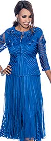 Susanna 3590-Royal Godet Pleated Skirt Suit With Mesh & Piping