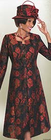 Terramina 7553 Womens Red Rose Print Church Dress