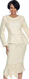 Terramina 7570 Metallic Gold Weave Skirt Suit