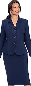 Terramina 7468-Navy - Skirt Suit With Rounded Notch Lapel Jacket