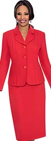 Terramina 7468-Red - Skirt Suit With Rounded Notch Lapel Jacket