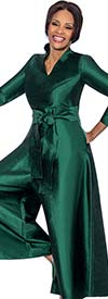 Terramina 7620-Green - Womens Wide Leg Style Pant Suit With Belt