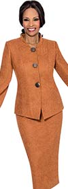 Terramina 7624 Nehru Collar Skirt Suit With Flared Sleeves & Suede Look