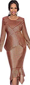 Terramina 7627 Womens Sharkbite Flounce Skirt Suit With Multidirectional Stripes