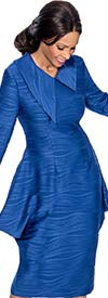Terramina 7628-Blue - Asymmetric Wing Collar Skirt Suit With Peplum Jacket