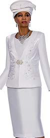 Terramina 7636 Womens Skirt Suit For Church With Embroidered Jacket